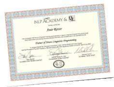 תעודה מוסמך בדרגת NLP New Code Trainer, (היחיד בישראל) מטעם NLP Academy – פרופ' ג'ון גרינדר