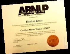 תעודה דרגת NLP Master Tainer מטעם ABNLP (טד ג'יימס)